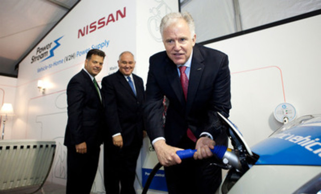 Allen Childs, President of Nissan Canada Inc. (right), along with Brian Bentz, President and CEO of PowerStream (left) and PowerStream Board Chair and Town of Markham Mayor, Frank Scarpitti (middle), plug in the all-electric Nissan LEAF to demonstrate the integration of electric cars into the home with the latest Smart Grid technologies. (CNW Group/Nissan Canada Inc.)