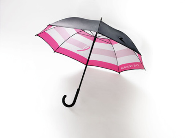 The HBC Foundation Commemorates Breast Cancer Awareness Month with Launch of Limited Edition Umbrella at Hudson's Bay,  in Support of BCRF (CNW Group/Hudson's Bay)