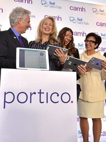 Dr. David Goldbloom, Senior Medical Advisor, CAMH, Mary Deacon, Chair Bell Let's Talk, Amy Restoule, Social Worker, Sudbury East Community Health Centre, Dr. Catharine Zahn, President & CEO, CAMH at the launch of Portico at CAMH on January 21, 2016. (CNW Group/Bell Canada)
