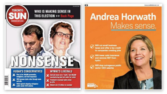 Wrap of Toronto Sun Newspaper (CNW Group/New Democratic Party of Ontario)