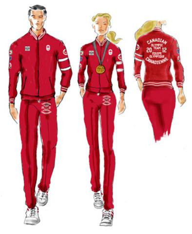 Les athlètes olympiques canadiens célèbrent en survêtement rouge d'inspiration rétro spécialement créé par la Compagnie de la Baie d'Hudson pour les cérémonies de remise des médailles (Groupe CNW/Compagnie de la Baie d'Hudson)