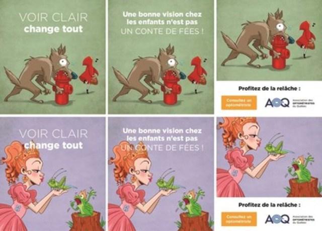 Campagne de l'AOQ « Une bonne vision chez les enfants n'est pas un conte de fées » - bannières web. (Groupe CNW/Association des optométristes du Québec)