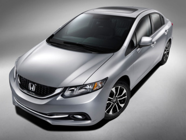 The refined styling of the 2013 Honda Civic Sedan, which goes on sale at dealerships across Canada on December 10, will encompass a host of safety, feature, comfort, chassis and interior styling enhancements that will further define the top-selling Civic as the best car in the compact class. *U.S. model shown. (CNW Group/Honda Canada Inc.)