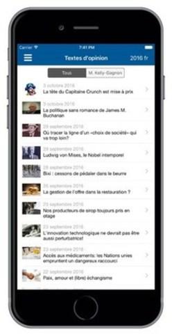 IEDM Mobile : nouvelle application disponible sur iOS (Groupe CNW/Institut économique de Montréal)