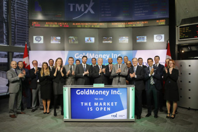 Roy Sebag, President and CEO, GoldMoney Inc. (XAU), joined Loui Anastasopoulos, Vice President, TSX Company Services, Toronto Stock Exchange & TSX Venture Exchange to open the market. GoldMoney Inc. is a global, full-reserve and gold-based financial services and technology group, offering precious metals custody and wealth services, trading and execution, and independent research to individual investors and institutions. As at March 31, 2016, GoldMoney Inc. has clients from over 150 countries, and $1.6 billion in client assets under administration. GoldMoney Inc. graduated from TSX Venture Exchange, and commenced trading on Toronto Stock Exchange on April 21, 2016. For more information, please visit www.goldmoney.com. (CNW Group/TMX Group Limited)
