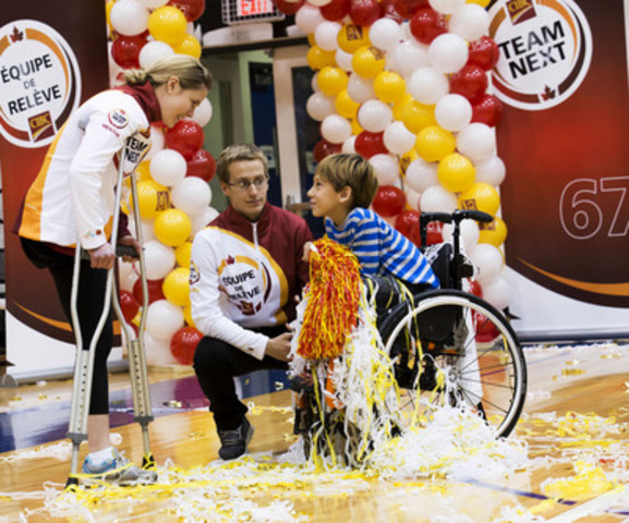CIBC Team Next mentor and multiple Paralympic gold-medalist Stephanie Dixon with CIBC Team Next athlete Jean-Michel Lavallière speaking to Tai Young, Easter Seals of Ontario Ambassador at the official launch of the CIBC Team Next program. (CNW Group/Canadian Imperial Bank of Commerce)