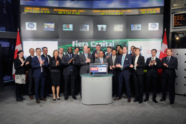 Raj Lala, Executive Vice President, Retail Markets, Fiera Capital Corporation and Derek Wolff, Senior Vice President, Head of Strategic Product Development, Nuveen Asset Management joined Amelia Nedovich, Head, Business Development, Exchange Traded Funds and Structured Products, TMX Group to open the market to launch Investment Grade Infrastructure Bond Fund (IFB.UN). Fiera Capital is a Canadian investment management firm specializing in portfolio management and investment solutions. Fiera Capital Corporation is the manager and promoter of the Fund and has retained Nuveen Asset Management, LLC to provide portfolio management services. Investment Grade Infrastructure Bond Fund (IFB.UN) commenced trading on Toronto Stock Exchange on February 24, 2015. (CNW Group/TMX Group Limited)