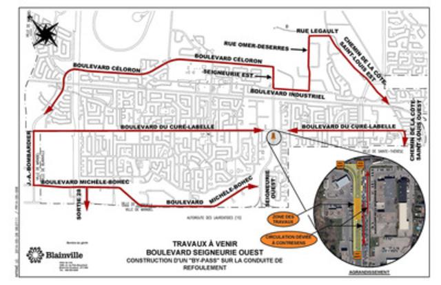 Plan Routes Alternatives Seigneurie Ouest (Groupe CNW/VILLE DE BLAINVILLE)