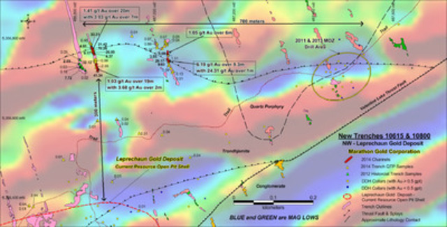 Figure 1: Location map of channels intervals from the high-grade QTP-Au bearing stacked veins in Trenches 10615 and 10800, North Leprechaun Gold deposit area. (CNW Group/Marathon Gold Corporation)
