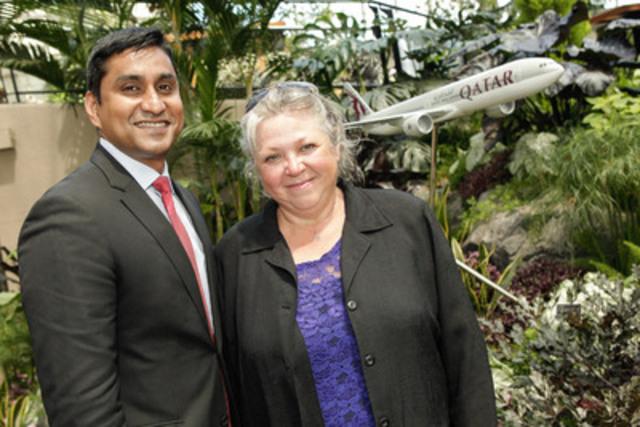 Riyaz Sadudeen, Responsable du Canada, Qatar Airways et Lise Cormier, Présidente du comité des Mosaïcultures internationales (Groupe CNW/Qatar Airways)