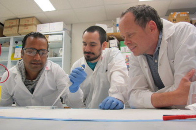 Arun Raturi, Tomas Gutiérrez and Thomas Simmen are co-authors of a University of Alberta study describing how a single protein has been discovered to slow the fast growth of tumour cells. (CNW Group/Faculty of Medicine & Dentistry, University of Alberta)