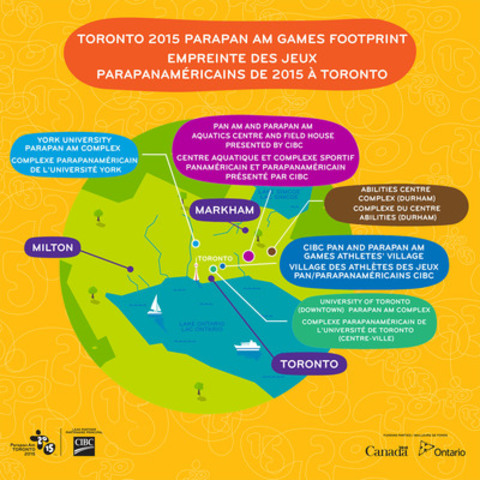 TORONTO 2015 Parapan Am Games Footprint (CNW Group/Toronto 2015 Pan/Parapan American Games)