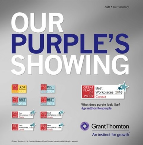 Grant Thornton LLP is proud to be recognized as one of Canada's Best Workplaces, ranking the highest among participating professional service firms - our Grant Thornton purple shines! (CNW Group/Grant Thornton LLP)