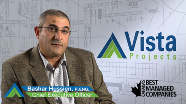 CEO Bashar Hussien believes Vista Projects' ongoing recognition as one of Canada's Best Managed Companies is a validation of the company's commitment to excellence. (CNW Group/Vista Projects Limited)