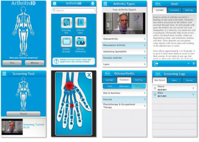 Screen shots of ArthritisID (CNW Group/National Arthritis Awareness Program)