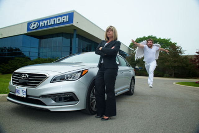 Jennifer Dobbs, Director of Marketing at Hyundai Auto Canada, awaits the late arrival of the central figure in the company's marketing for the all-new 2015 Sonata sedan. The advertising humourously suggests the Sonata's advanced safety systems could put tardy, unreliable guardian angels out of work. (CNW Group/Hyundai Auto Canada Corp.)
