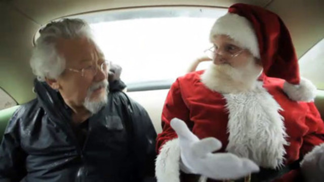 Video: Santa asked David Suzuki to help him relocate and combat the threat of climate change. Our cameras spotted David helping Santa search for a temporary home.