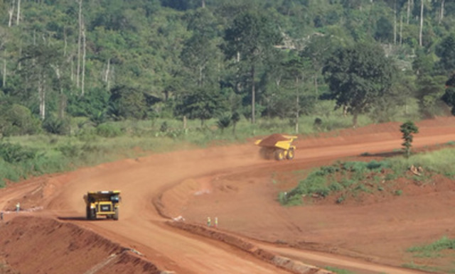 CAT 777s on South Pit haul road (CNW Group/Endeavour Mining Corporation)