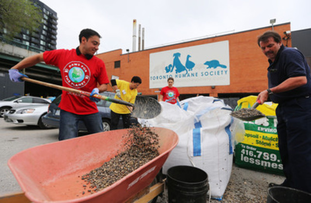 Purina, Evergreen and Toronto Humane Society volunteers come together to renovate the dog park as part of the 'Paws for the Planet' initiative at the renowned Toronto shelter on Thursday, June 12, 2014. (CNW Group/Nestlé Purina PetCare Canada)