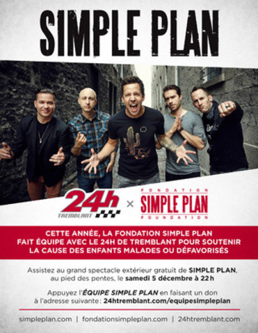 Simple Plan participe au 24h de Tremblant (Groupe CNW/Fondation Simple Plan)