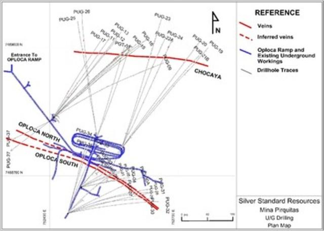 Figure 1. Underground drillholes at the Pirquitas mine, Argentina. (CNW Group/Silver Standard Resources Inc.)