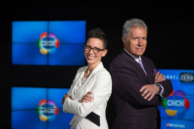 BACK TO BACK - Jeopardy host Alex Trebek and Spin Off host Elvira Kurt pose in Toronto this morning for the CHCH fall preview as the station kicks off its 60th Anniversary celebrations. (CNW Group/Channel Zero Inc.)