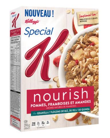 Céréales Special K Nourish Pommes, framboises et amandes: Une source de 10 éléments nutritifs essentiels, avec 220 calories ou moins par portion. (Groupe CNW/Kellogg Canada Inc.)