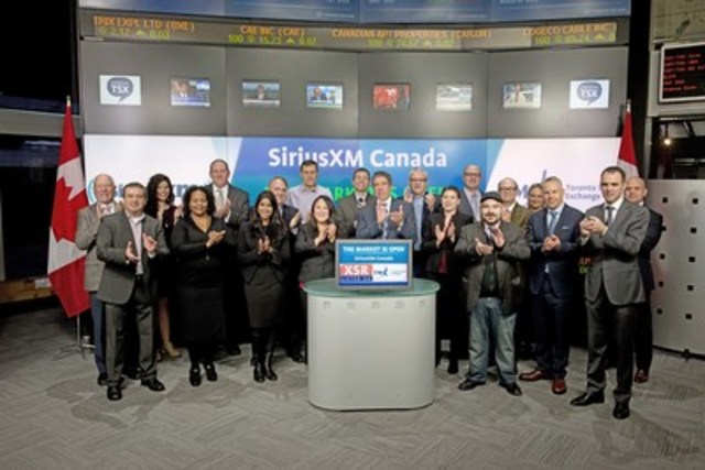 Mark Redmond, President and CEO, SiriusXM Canada (XSR)  joined Loui Anastasopoulos, Vice President, TSX Company Services, Toronto Stock Exchange & TSX Venture Exchange to open the market to celebrate 10 years as a Toronto Stock Exchange listed company. SiriusXM Canada is an audio entertainment company, which broadcasts more than 130 satellite radio channels featuring sports, news talk, entertainment and commercial-free music. Programming is available on a variety of devices including radios in cars, trucks and boats, smartphones and mobile devices, as well as consumer electronics products for homes and offices. SiriusXM programming is also available online at www.siriusxm.ca and on Apple and Android powered mobile devices. (CNW Group/TMX Group Limited)