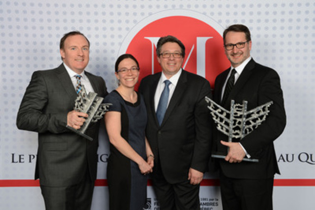 From left to right : Keith Lawless, Senior Director, Business Sustainability and Improvement, Air Transat, Estelle Beaudry, VP, Business Development and Environment, Aerocycle, Ron Haber, President and CEO, Aerocycle, Jean-François Lemay, General Manager, Air Transat  (CNW Group/Transat A.T. Inc.)