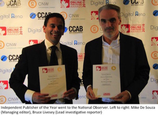 Independent Publisher of the Year went to the National Observer. Left to right: Mike De Souza (Managing editor), Bruce Livesey (Lead investigative reporter) (CNW Group/Canadian Online Publishing Awards (COPA))