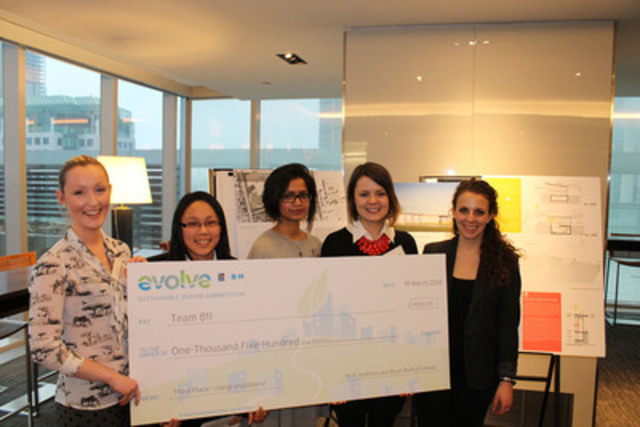 Troisième équipe - 1 500 $ : Alice Chen, Alan King Bowden, Andrea Ng, Alice Song, Mina Vedut. Université Ryerson (Groupe CNW/RBC (French))