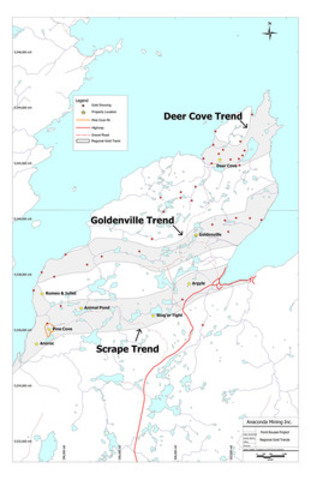 Exhibit A: Point Rousse Project - Regional Trends Map (CNW Group/Anaconda Mining Inc.)