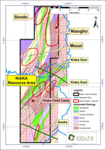 Figure 1: Kiaka Property Scale Geology With Locality of Main Prospects (CNW Group/Volta Resources Inc.)