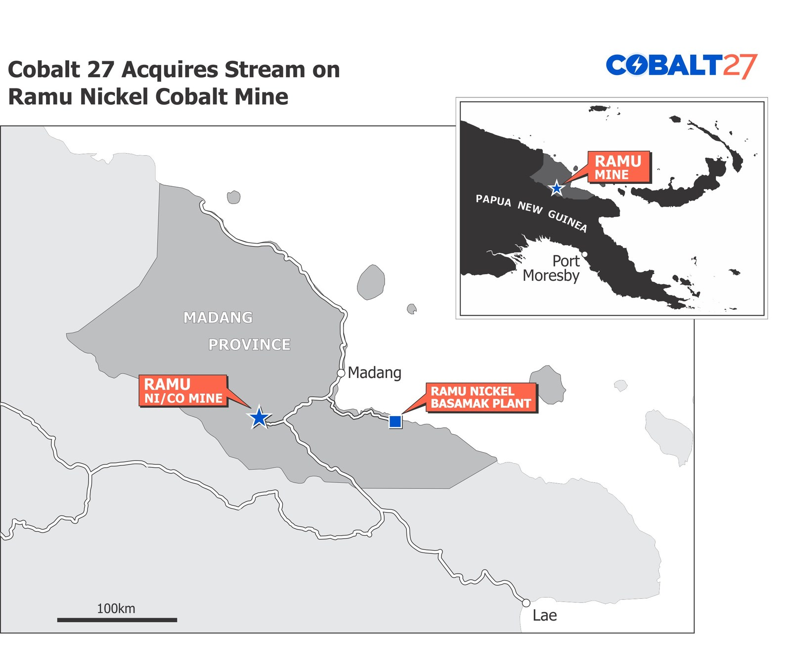 Cobalt 27 Acquires a Cash Flowing Cobalt-Nickel Stream on Producing Ramu Nickel-Cobalt Mine for US$113 Million. This regional map shows the location of the Ramu mine.