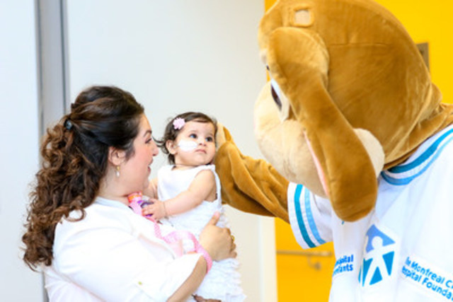 Sofia et sa maman, Stefania, en visite à l'Hôpital de Montréal pour enfants où elles ont rencontré Caramel, la mascotte officielle. (Groupe CNW/La Fondation de l'Hôpital de Montréal pour enfants)