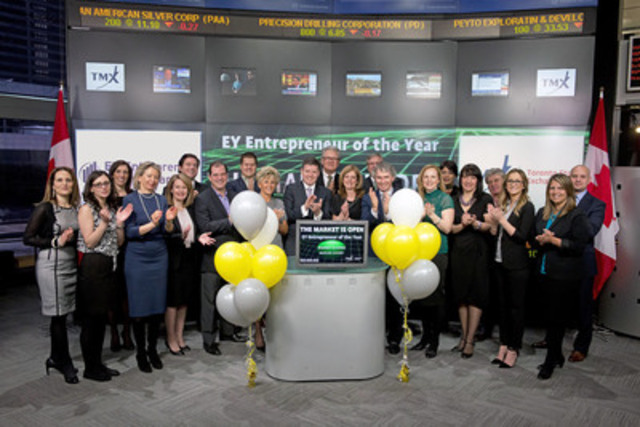 Trent Henry, Chairman and CEO, Ernst & Young joined Loui Anastasopoulos, Vice President, TSX Company Services, Toronto Stock Exchange & TSX Venture Exchange to open the market. EY Entrepreneur of the Year Awards encourage entrepreneurial activity and celebrate those who are building and leading successful, growing and dynamic business', recognizing them through regional, national and global awards programs in more than 145 cities in more than 60 countries. It is a year-long, multi-event program that culminates in finalist and alumni events throughout Canada in September and a National awards gala in Toronto in November. This year Toronto Stock Exchange and TSX Venture Exchange have become a national sponsor of the 2015 EY Entrepreneur of the Year Awards. (CNW Group/TMX Group Limited)