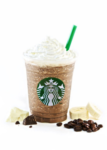 One pump White Mocha, one pump Vanilla, Java Chip Frappuccino® blended with bananas (CNW Group/Starbucks Coffee Company)
