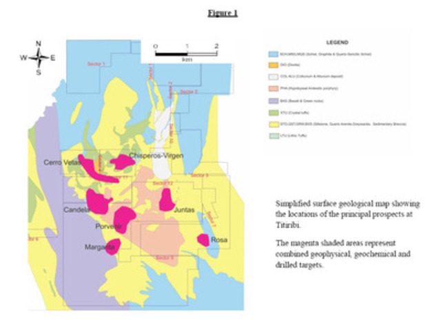 Simplified surface geological map showing the locations of the principal prospects at Titiribi. (CNW Group/Sunward Resources Ltd.)