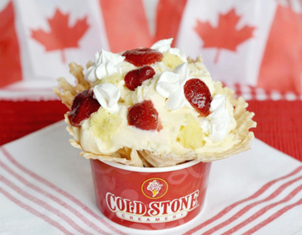Celebrate Canada Day with the new Cold Stone Creamery Creation 'Berry Happy Canada Day'. This red and white Creation features Cake Batter ice cream, yellow cake, whipped topping and strawberries - perfect for all Canadian festivities! (CNW Group/Tim Hortons Inc.)