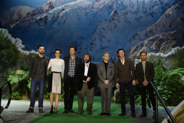 The cast of The Hobbit: The Desolation of Smaug on the giant pop-up book of New Zealand - Aidan Turner, Evangeline Lily, Richard Armitage, Peter Jackson, Martin Freeman, Luke Evans, Dean O'Gorman (left to right). (CNW Group/Tourism New Zealand)