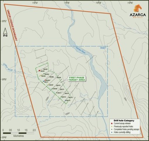 Map 2: Unkur Silver-Copper Project license area including first phase drilling target area (CNW Group/Azarga Metals Corp.)