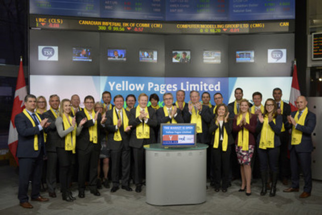 Julien Billot, President & CEO, Yellow Pages Limited (Y), joined Loui Anastasopoulos, Vice President, TSX Company Services, Toronto Stock Exchange & TSX Venture Exchange to open the market to celebrate 12 years as a Toronto Stock Exchange listed company. Yellow Pages Limited is a Canadian digital media and marketing solutions company that supports local economies by helping neighbourhood businesses reach new customers and foster stronger relationships with existing clients through its various media and products. The company opened the market in advance of its Shop The Neighbourhood initiative taking place on November 28th, which supports small businesses through encouraging local shopping and providing free access to YP digital platforms for merchants to market special promotions exclusive to the event. For more information on Yellow Pages visit: www.corporate.yp.ca. (CNW Group/TMX Group Limited)