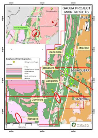 Figure 1: Location of Gaoua Cu-Au Porphyry Prospects (CNW Group/Volta Resources Inc.)