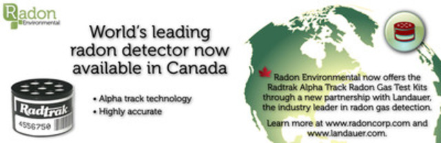 Radon Environmental now offers Radtrak Radon Gas Test Kits in Canada (CNW Group/Radon Environmental Management Corp.)