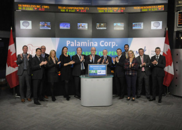 Andrew Thomson, President, Palamina Corp. (PA) joined Tim Babcock, Director, Listed Issuer Services, TSX Venture Exchange to open the market. Palamina Corp. is a holding company with 3 mining assets in Mexico. Palamina Corp. commenced trading on TSX Venture Exchange on November 13, 2015. For more information please visit www.palamina.com. (CNW Group/TMX Group Limited)