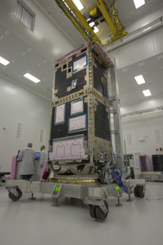 Structural modal test for the RADARSAT Constellation Mission (RCM) being completed at Magellan Aerospace's advanced satellite integration facility. (CNW Group/Magellan Aerospace Corporation)