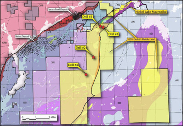 Figure 1: Drill Rig Locations (CNW Group/Duluth Metals Limited)