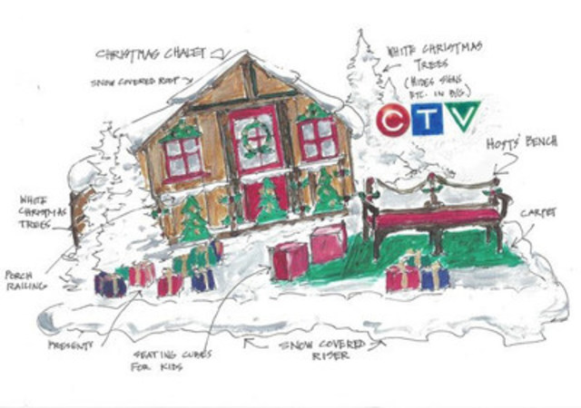 Artist rendering of CTV's new broadcast set for THE 111TH ANNUAL SANTA CLAUS PARADE by Andrew Kinsella (On Set Design) (CNW Group/CTV)
