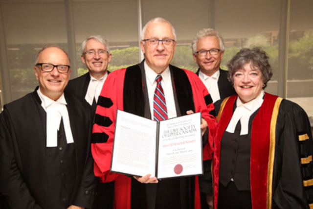 James K. Stewart, International Criminal Court Deputy Prosecutor (middle), holds the degree of Doctor of Laws honoris causa presented to him by The Law Society of Upper Canada at its June 26th afternoon Call to the Bar ceremony at Roy Thomson Hall. Stewart is congratulated by (l-r) CEO Robert Lapper, The Hon. Peter D. Lauwers, Judge of the Ontario Court of Appeal, Bencher Peter Wardle and Treasurer Janet E. Minor (CNW Group/The Law Society of Upper Canada)