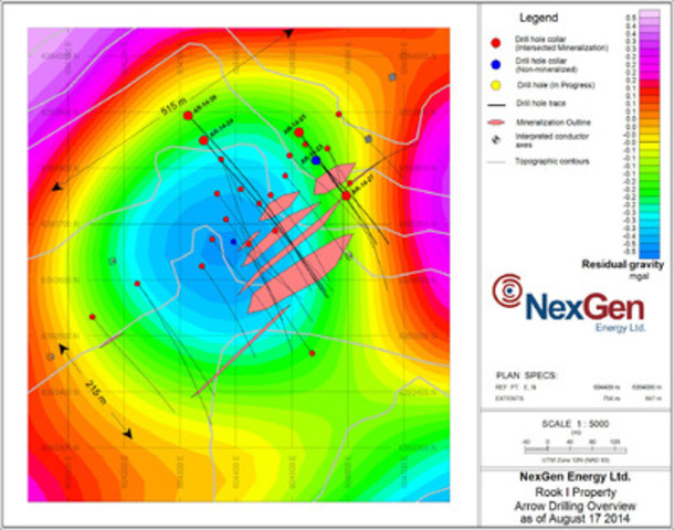 Figure 1: Arrow Discovery Drill Hole Locations (gravity background) (CNW Group/NexGen Energy Ltd.)